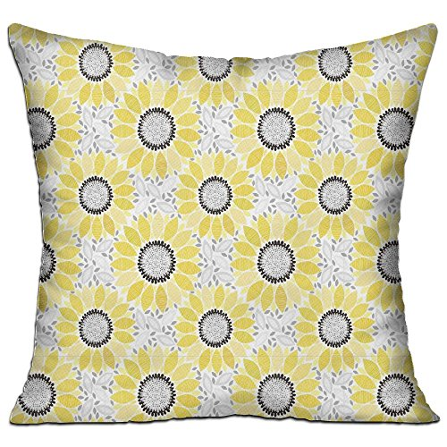 Ojinwangji Sunflower With Leaves And Petals Pattern Spring Summer Floral Nature Country Style Art Soft Pillow Print Sofa Pillowcase 18 X 18 Inches,