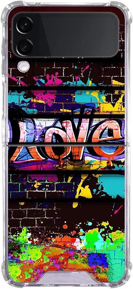 Fitunta Clear Phone Case Compatiable with Samsung Galaxy Z Flip 3 Case - Transparent Love Graffiti