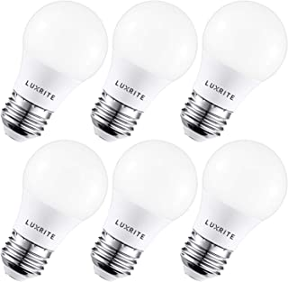 Luxrite A15 LED Light Bulb, 40W Equivalent, 5000K Daylight White, Dimmable, 450LM, Medium Base E26 LED Light Bulb, UL and Enclosed Fixture Rated - Perfect for Ceiling Fans and Home Lighting (6 Pack)