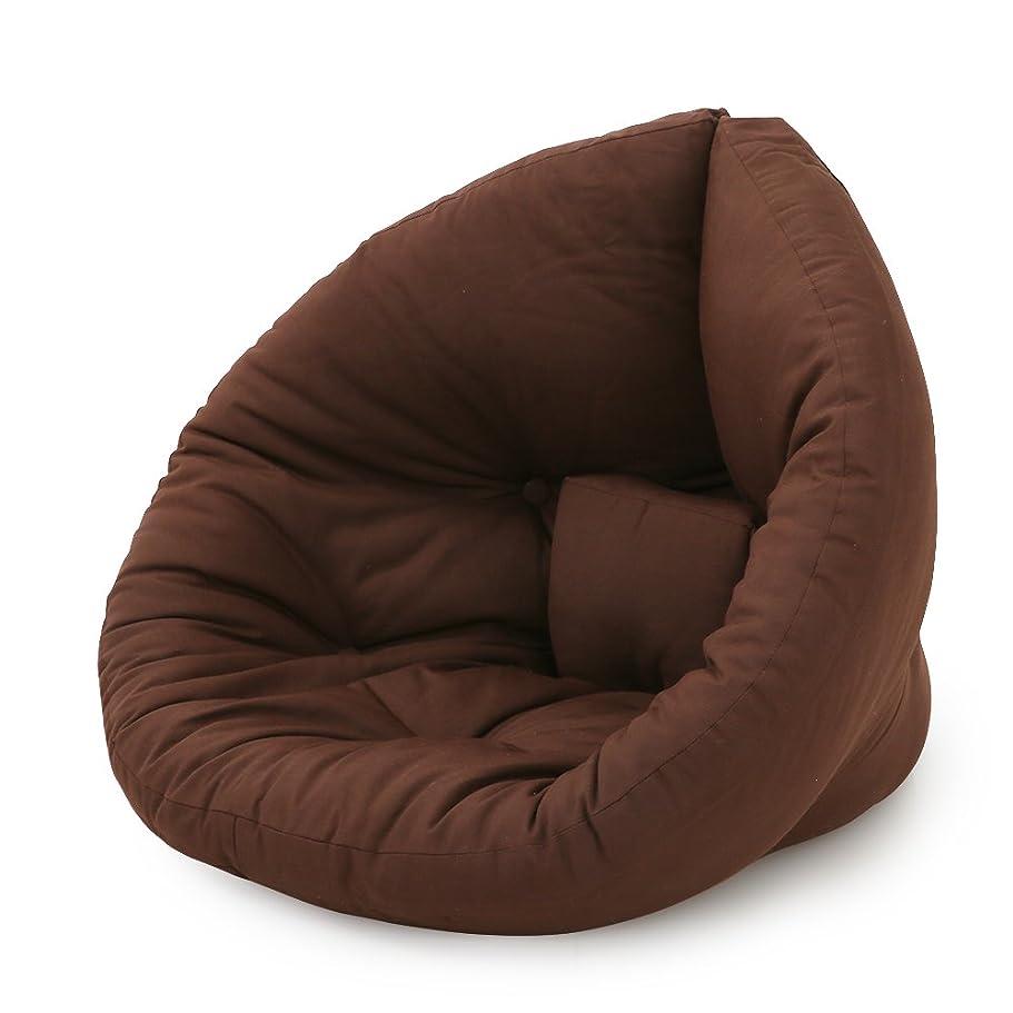 対話水平権限を与えるLOWYA 北欧デザイン 座椅子 2way 広げてマットレスにも 1人掛け ソファ デザイナーズ ファブリック ミニサイズ ブラウン