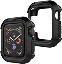 Priefy Shockproof Rugged Armour Full-Protective Bumper Cover Compatible with Apple Watch 44 MM Series 4 and Series 5 - Black