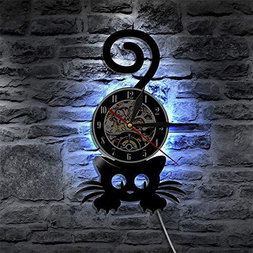 Tbqevc Crazy Cat Lady Kitten Silueta Reloj de Pared para la decoración de la Pared de la Cola de Las Mujeres Reloj de Disco de Vinilo Gatito Negro Gato Amante 12 Pulgadas