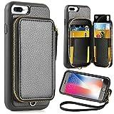ZVE iPhone 8 Plus 7 Plus Wallet case,5.5 inch, Apple iPhone 7 Plus 8 Plus Case with Credit Card Holder Slot Zipper Wallet Pocket Purse,Protective Case Cover for Apple iPhone 8 Plus/7 Plus - Black