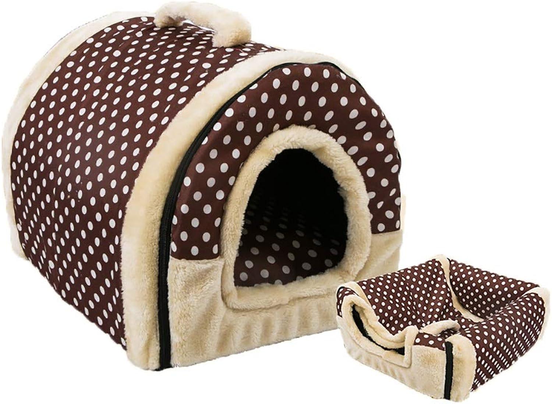 Pet Bed, Soft Washable Dog Pet Warm Bed,Dual Use Detachable Pet Nest, Coffee Dot (Size   S(35x32x28cm))