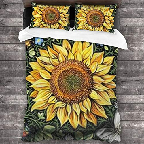 WEQIANGHAN Painted Sunflower Design Duvet Cover Set Queen Size, Soft 100% Microfiber Bedding Set for Women Men Boys and Girls Bedroom Decoration 3 Pieces Bed Set(1 Duvet Cover 2 Pillowcase)