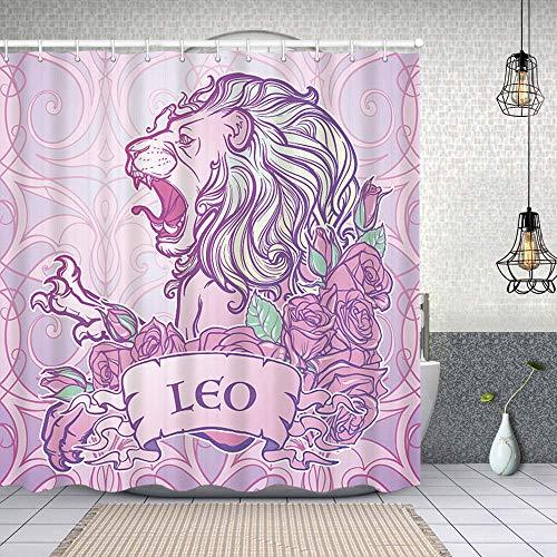 kThrones Duschvorhang,Sternzeichen Leo mit einem dekorativen Rahmen Rosen,Waschbar Shower Curtains Wasserdicht & mit 12 Ringe Bad Vorhang 180x180cm