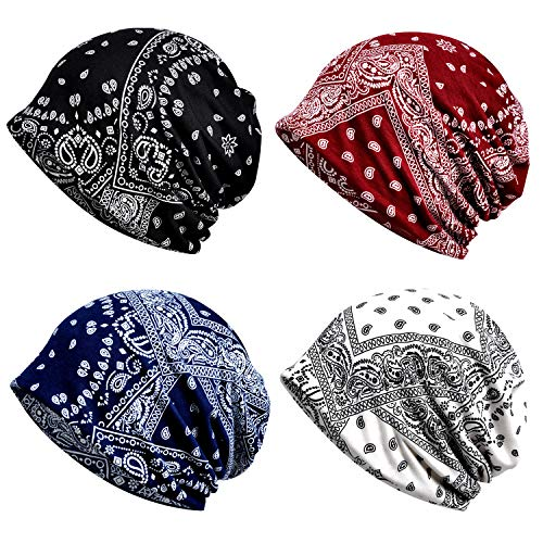 Cotton Fashion Beanies Chemo Caps Cancer Headwear Skull Cap Knitted hat Scarf for Womens Mens 4pack(MZ015-4pack