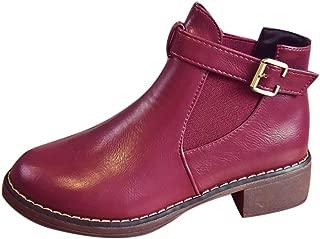 Women's Mid-Heel Ankle Boots Non-Slip Belt Buckle Short Tube Round Head Boots