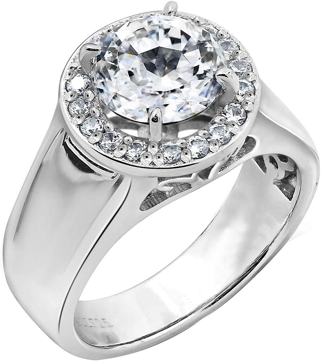 DIAMONBLISS Platinum Plated 70% OFF Outlet Inexpensive Sterling Zirc Silver Cubic 100-Facet