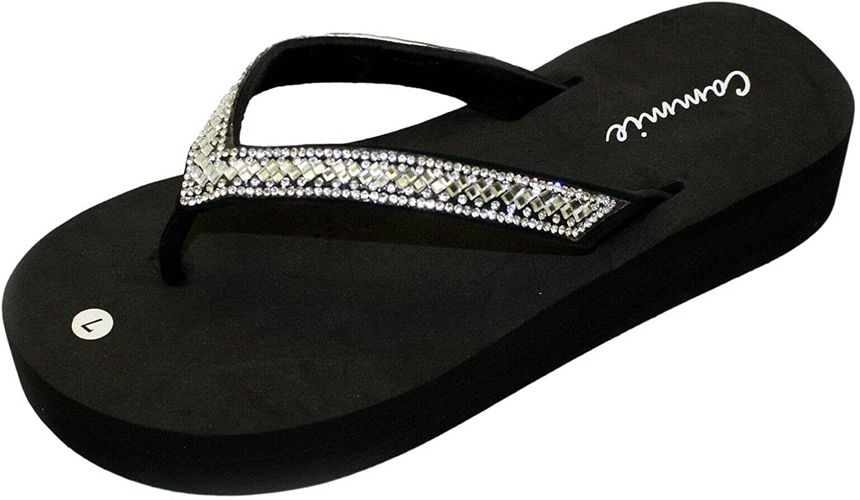 W-823 Women Platform Wedge Rhinestone Bling Slides Flip Flop Sandals Slip On Slippers