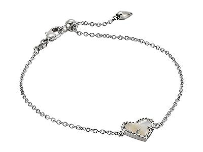 Kendra Scott Ari Heart Delicate Chain Bracelet (Rhodium Ivory Mother-of-Pearl) Bracelet