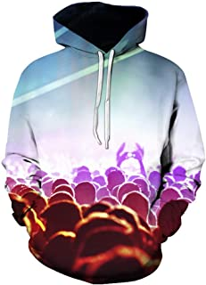 〓VigorY〓Unisex 3D Printed Drawstring Hoodies Hooded Pullover Sweatshirt Pockets Long Sleeve 3D Funny Print Sweatshirts