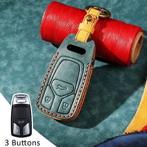 Funda protectora para llave de coche con mando a distancia para Audi A4 A4L A5 S5 S7 B9 Q5 Q7 8S S4 8W RS TT 3 botones de piel sin llave (cian)