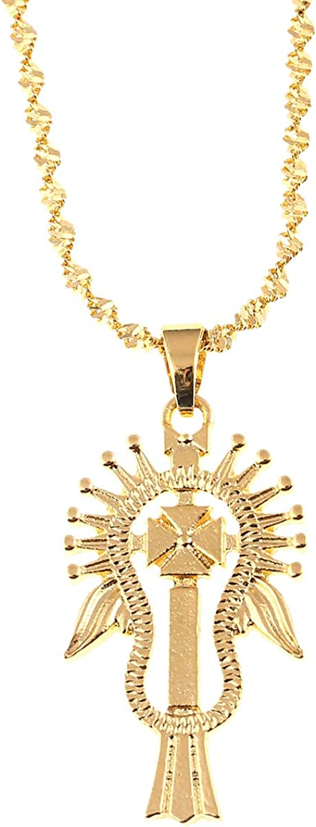 Ethiopian Gold Pendant Necklace for Women Men Judah Jewelry Charms Ethnic African