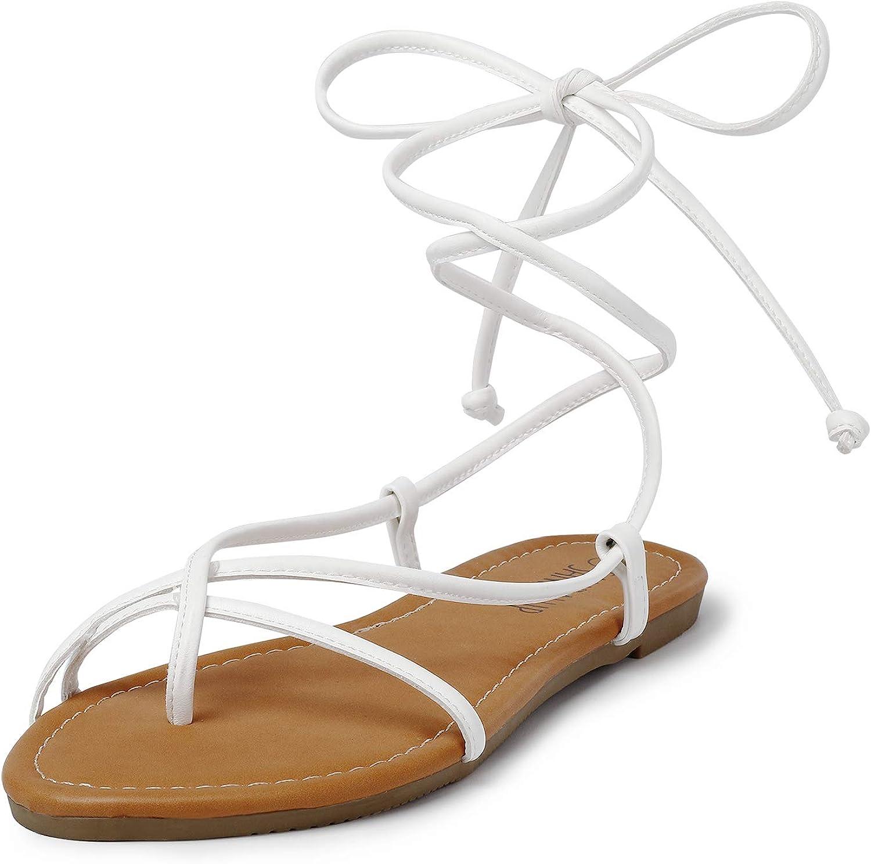 SANDALUP Lace up Sandals Tie up Dress Summer Flat Sandals for Women