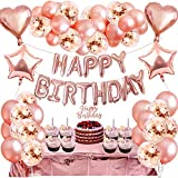 MMXT Palloncini Compleanno in Oro Rosa,77 Pezzi Decorazioni per Feste Festone di compleanno Happy Birthday,Coriandoli Palloncini,Tovaglia per Matrimonio,Compleanno,Baby Shower