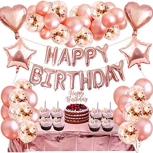 MMXT Decoracione para Fiestas de Cumpleaño Kit de Oro Rosa, 77 piezas HAPPY BIRTHDAY y Star Pancarta Globo Foil Confeti Mantel para Fiesta de Cumpleaños de Niña Mujer