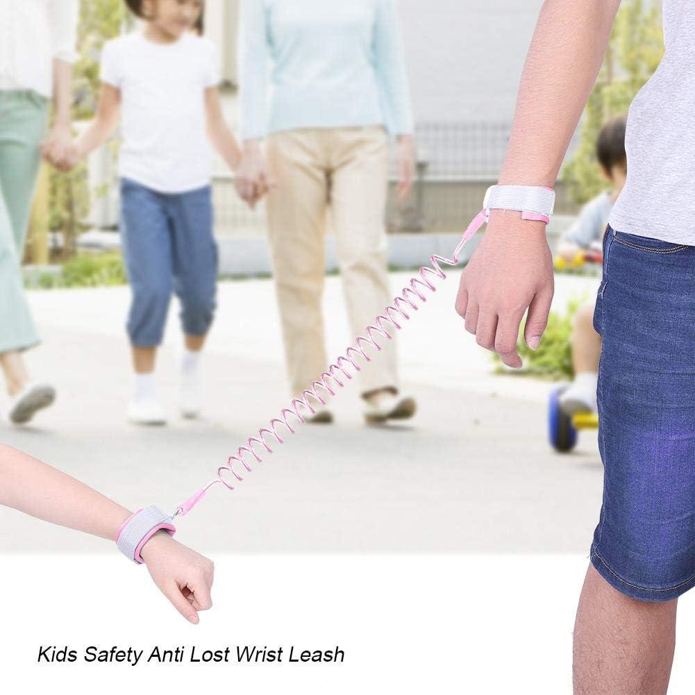 Meiyya Kids Anti Lost Wrist Leash,Kids Safety Wrist Leash Wristband Elastic Link for Walking Pink