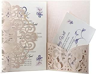 AdasBridal 50Pcs Laser Cut Hollow Wedding Invitation Cards Kit with Blank Sheets Envelopes for Wedding Invitation Bridal Shower Engagement Anniversary (7.09 X 4.92inch, Light Pink, 3-Fold Design)