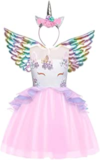 Jxstar Girls Unicorn Costume Flower Pageant Princess Dresses & 2PCS Accessories