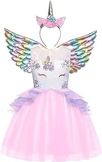 Girls Unicorn Costume Flower Pageant Princess Dresses & 2PCS Accessories