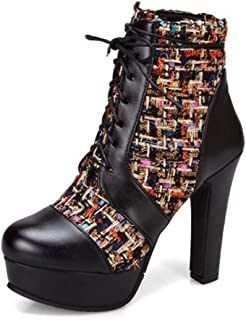 High Heels Ankle Boots, Women's Chunky Round Toe Platform Booties Lace-Up Short Boots Mid Calf Combat Boots