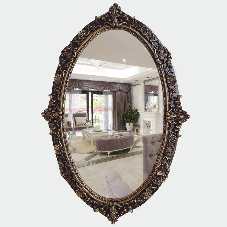 ZHPRZD Vintage Carved Mirror Oval Bathroom Mirror Wall Hanging Decorative Mirror 41  61cm Bathroom Mirror (color   B)