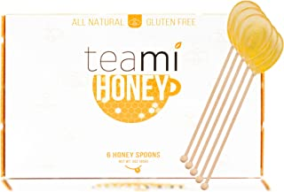 Teami All Natural Honey Spoons - Sweetener Stirrers Made with Real Honey - 6 Count - Great for Gifts, Hot Tea and other Beverage Compliments