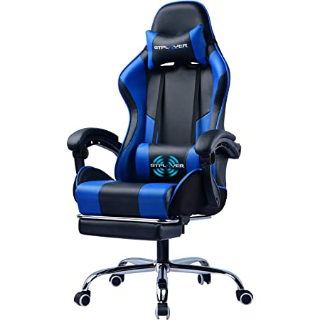 GTPLAYER Gaming Chair,Computer Chair with Footrest and Lumbar Massage, Height Adjustable Gaming Chair with 360°-Swivel Seat and Headrest for Office or Gaming(Blue)