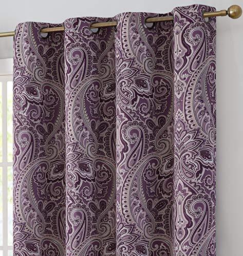 HLC.ME Paris Paisley Decorative Print Damask Pattern Thermal Insulated Blackout Energy Savings Room Darkening Soundproof Grommet Window Bedroom Curtain Panels, Set of 2 (50 W x 72 L, Merlot Purple)