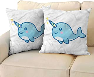 RuppertTextile Narwhal Customized Pillowcase Unicorn of The Sea Protect The Waist W23 x L23