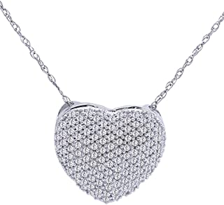 Round Cut White Cubic Zirconia Puffed Heart Pendant Neklace in 925 Sterling Silver