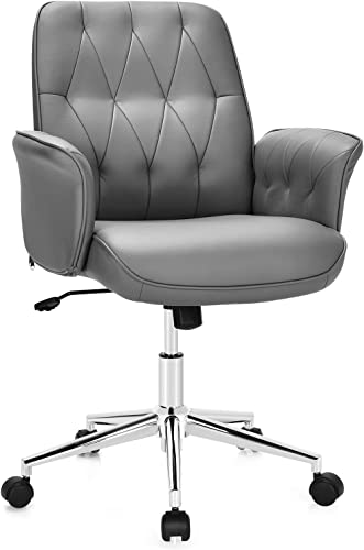 2021 Giantex Modern Office Desk Chair Accent Chair, Adjustable PU discount Leather Armchair with Wheels, Swivel Writing Desk Chair, Mid-Back popular Computer Task Chair, Makeup Dressing Chair for Small Space, Living Room outlet sale