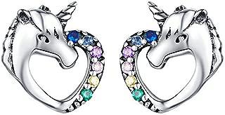 Unicorn CZ Stud Earrings 925 Sterling Silver Love Heart Cute Animal Hypoallergenic Piercing Earrings Studs for Kids Girls Women