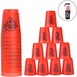 Erlsig Quick Stacks Cups 12 Pack of Sports Stacking Cups Speed Training Game Challenge Competition Party Toy with Carry Bag red YX0786
