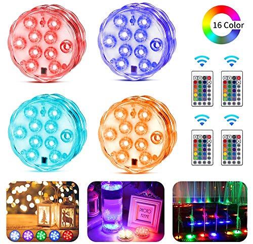 KIPIDA Unterwasser Licht, Unterwasser LED RGB Fernbedienung Multi Farbwechsel Wasserdichte LED Unterwasserlicht für Weihnachten,Erntedankfest,Schwimmbad,Fish Tank Hochzeit Vase Beleuchtung, 4 Stück