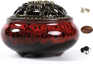 LamDawn Censer Sky Blue Incense Burner with Calabash Incense Stick Holder - Porcelain Charcoal Censer for Use with Resin G...