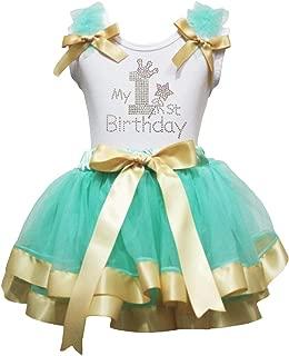 Petitebella My 1st Birthday Shirt Ribbon Petal Skirt Outfit Nb-2y (White/Aqua Gold, 3-12 Months)