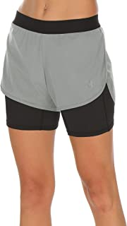 Workout Running Shorts with Pockets - Women's Gym Exercise Athletic Yoga Shorts 2-in-1