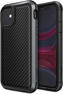 Defense Lux Series, iPhone 11 Case - Military Grade Drop Tested, Anodized Aluminum, TPU, and Polycarbonate Protective Case for Apple iPhone 11, (Black Carbon Fiber)