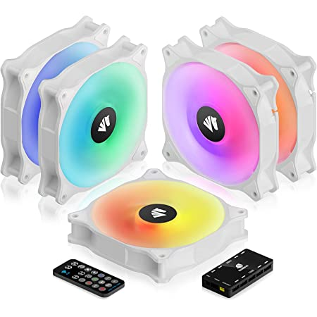 ASIAHORSE WD-001 120mm 5V ARGB Motherboard 12 Addressable LED 9 Blades Hydraulic Bearing White Case/Radiator Fan (5 Pack-White)