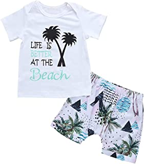 Toddler Baby Boys Life is Better at The Beach Coconut Tree Print T-Shirt Tops Shorts Pants Vacation Summer Clothes Sets
