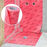 STEIGNER Membrana impermeabilizante para hidroaislamiento, Estera aislante, 1 m ancho 100cm L├бmina de sellado color Rojo, Esterrilla de impermeabilizaci├│n, Fibra selladora para Plato de ducha