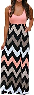 UOKNICE Women Boho Summer Striped Color Sleeveless Long Beach Maxi Dress