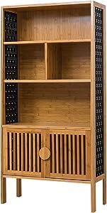 ZXY Vendimia Bambú Natural Estante para Libros,Simple Multifuncional Librería anaquel Multi-Capa Organizador de Almacenamiento para los Registros y Libros-B 69.5x29x139cm(27x11x55inch)