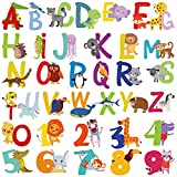 36 Pieces ABC Stickers Alphabet Decals 3D Colorful Baby Alphabet Decor Numbers Wall Stickers Animal Alphabet and Numbers Wall Decals Peel and Stick ABC Wall Decals for Kids Nursery Bedroom Living Room