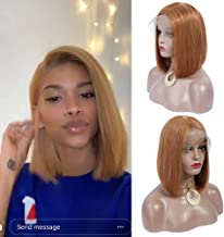 MY LIKE Hair 13x4 Lace Front Short Bob Wigs Brazilian Straight Human Hair Wigs For Black Women 150% Density Pre Plucked with Baby Hair Back to School New Look(12Inch,Honey Blonde 27#,Medium Size)