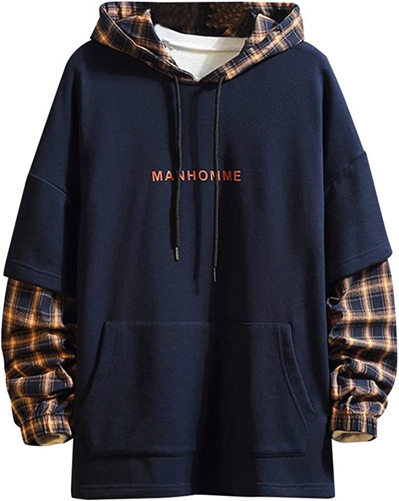 iOPQO Men's Pullover Fake 2 Pieces Long Sleeve Plaid Patchwork Hipster Hip Hop Hoodie with Pocket
