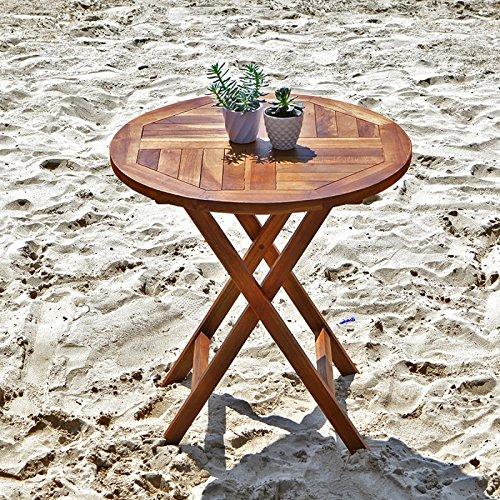 Table d'appoint en bois de teck ronde pliante H75cm