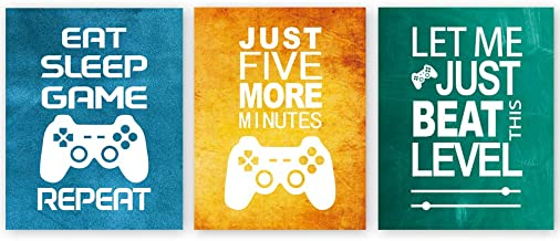 """Unframed Funny Video Game Themed Wall Art Print Inspirational Quotes Art Painting, Set of 3(12\"""" x16 ) Gaming Poster Water..."""